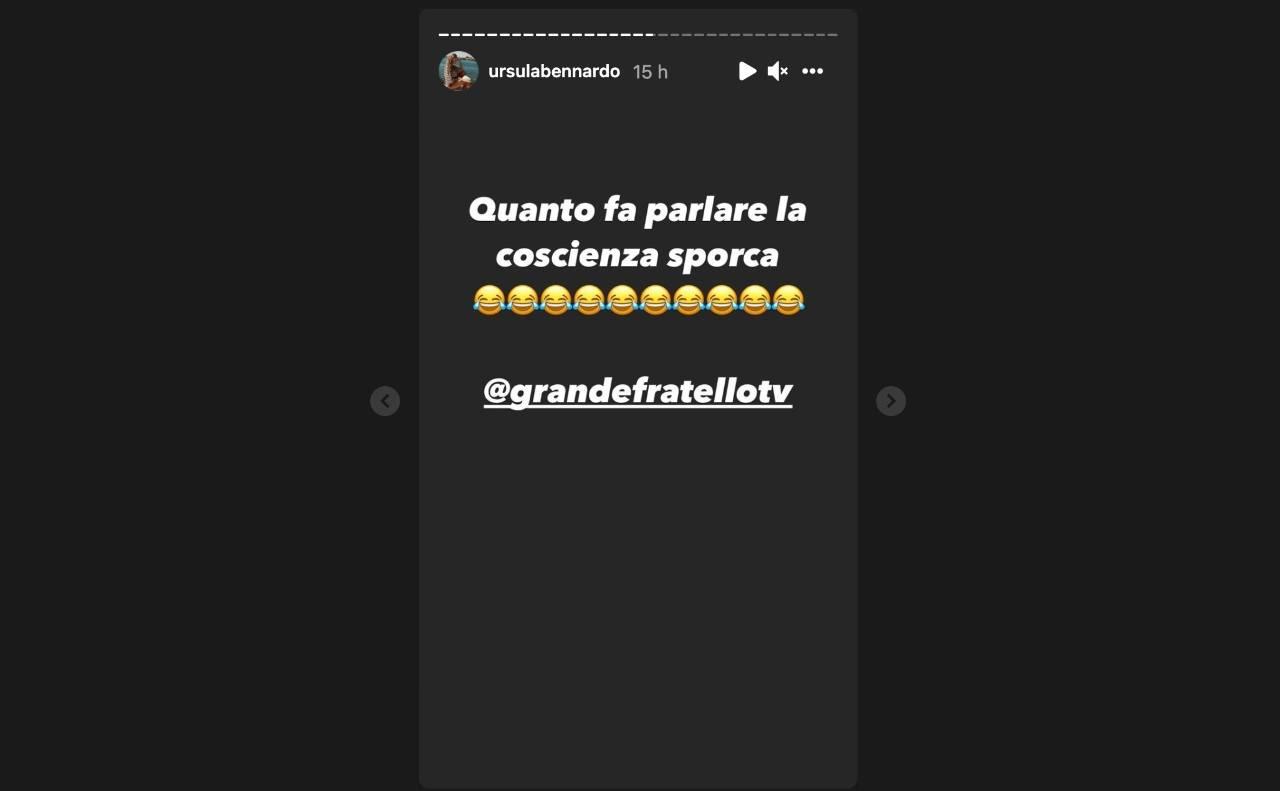 La frecciata di Ursula Bennardo sul ritorno al GF Vip di Sossio Aruta, ex tronista di Uomini e Donne (Storie Instagram).