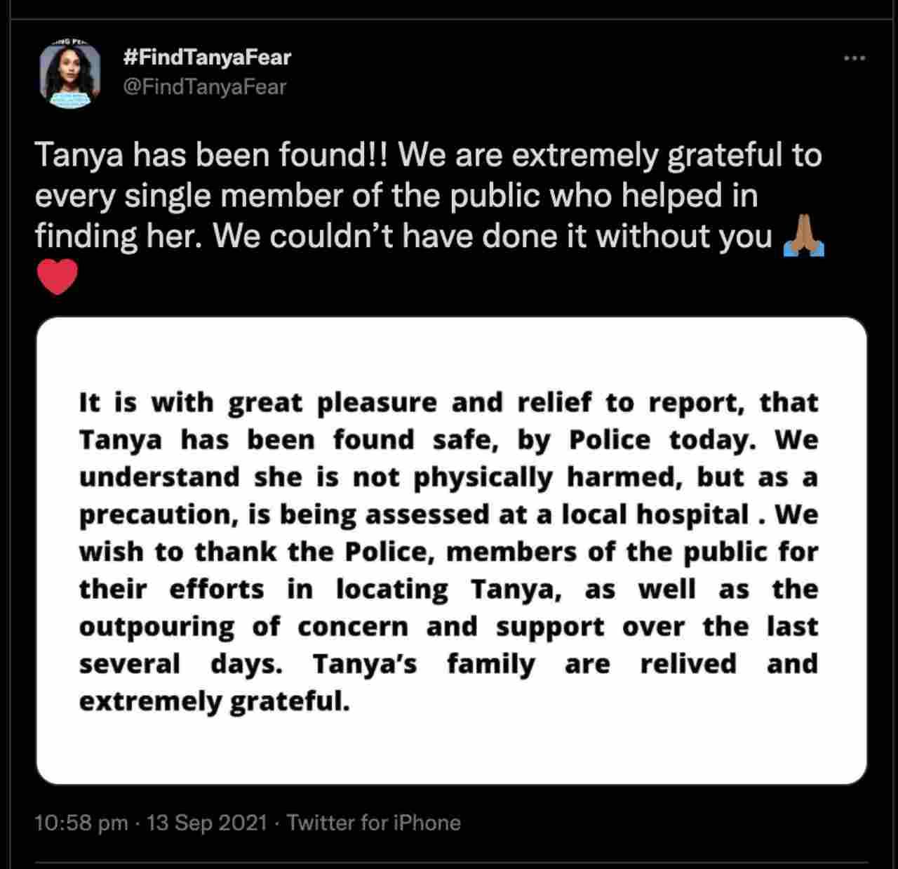 Uno dei messaggi che annunciano il ritrovamento di Tanya Fear, l'attrice Netflix scomparsa (fonte: Twitter).