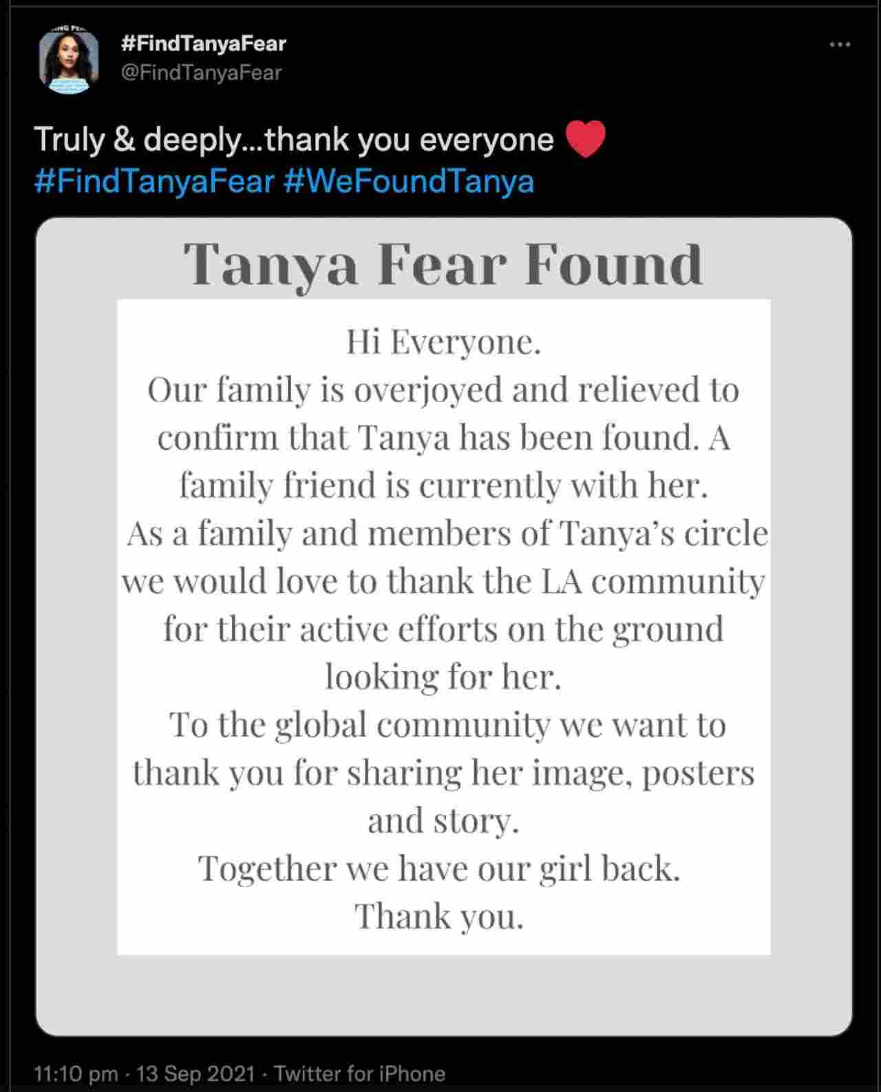 La famiglia di Tanya Fear, l'attrice scomparsa per quattro giorni, annuncia il ritrovamento su Twitter.