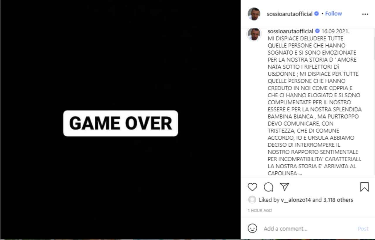Il messaggio completamente inaspettato di Sossio Aruta che mette fine alla storia d'amore con Ursula Bennardo (fonte: Instagram).