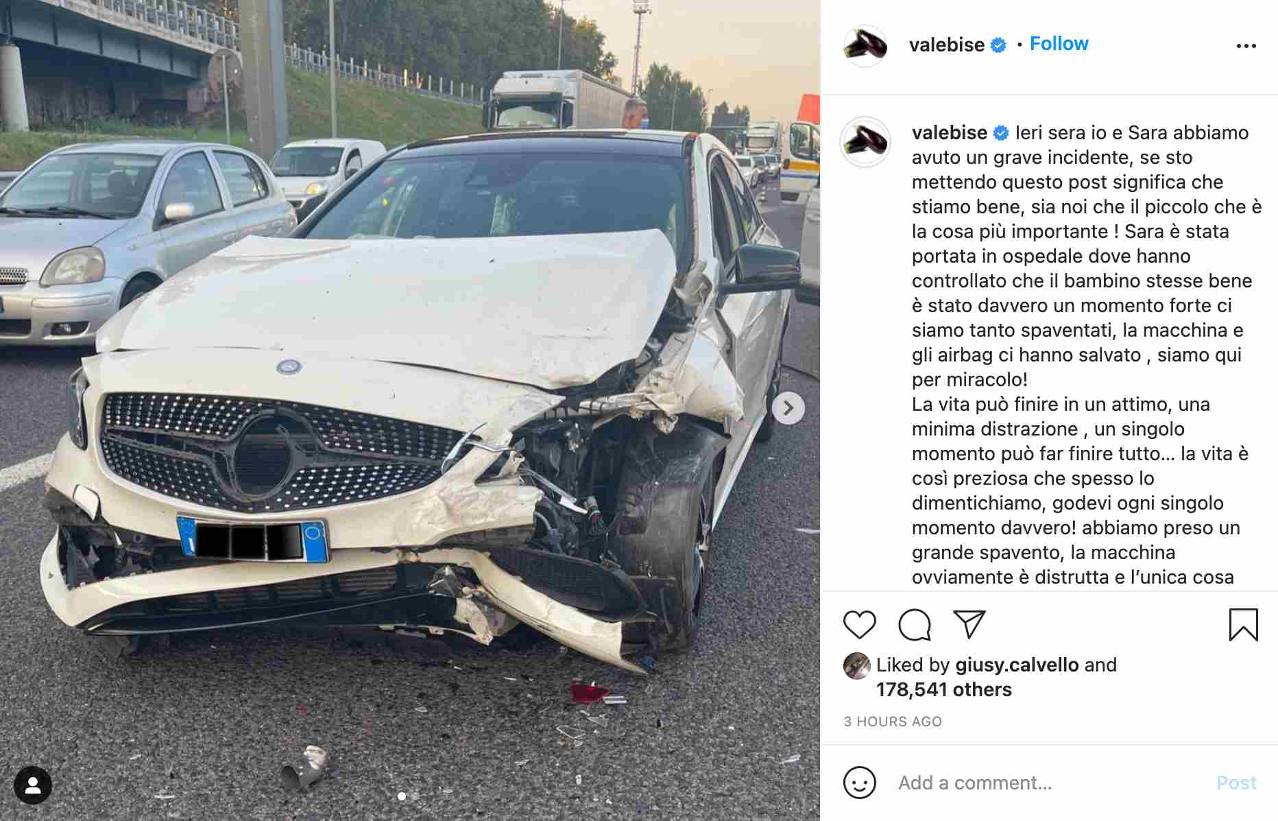 Il messaggio dello YouTuber Vale Bise, del duo Matt Bise, subito dopo l'incidente (fonte: Instagram).