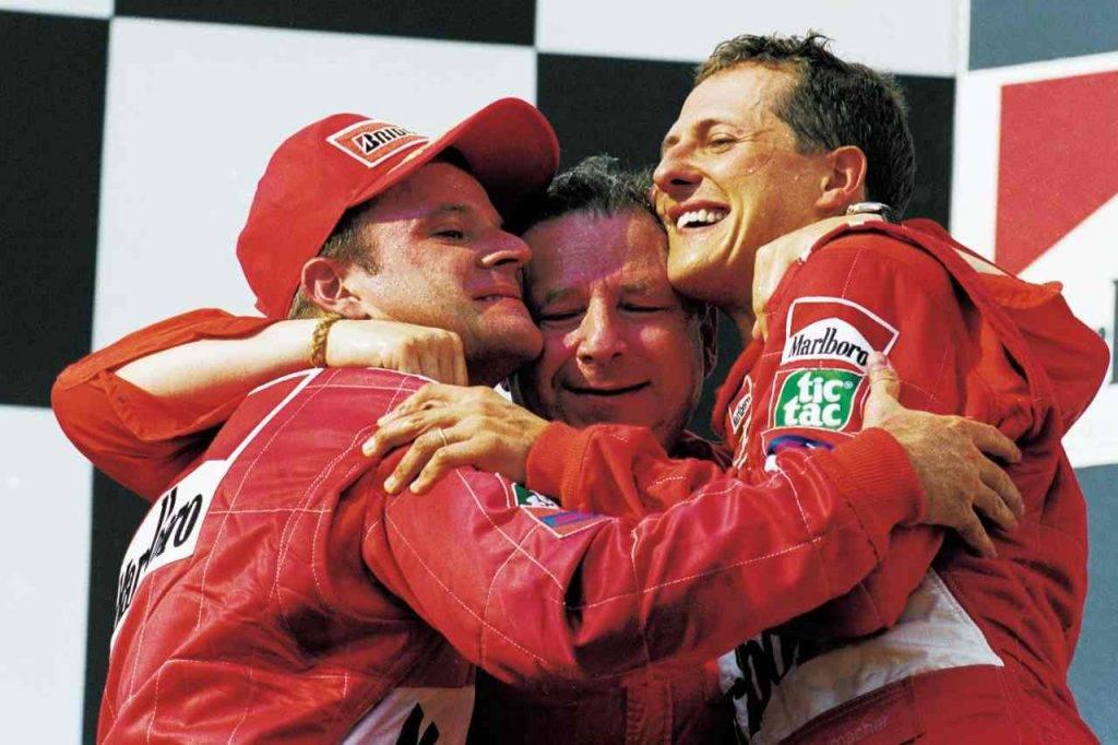 Jean Todt con Schumacher e Barrichello