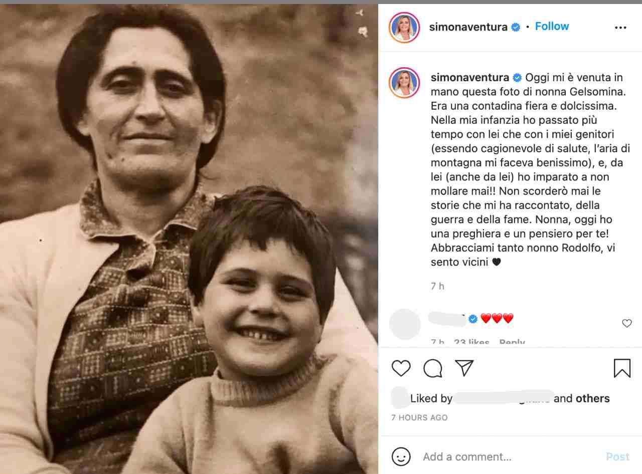 La commovente dedica alla nonna di Simona Ventura (fonte: Instagram).