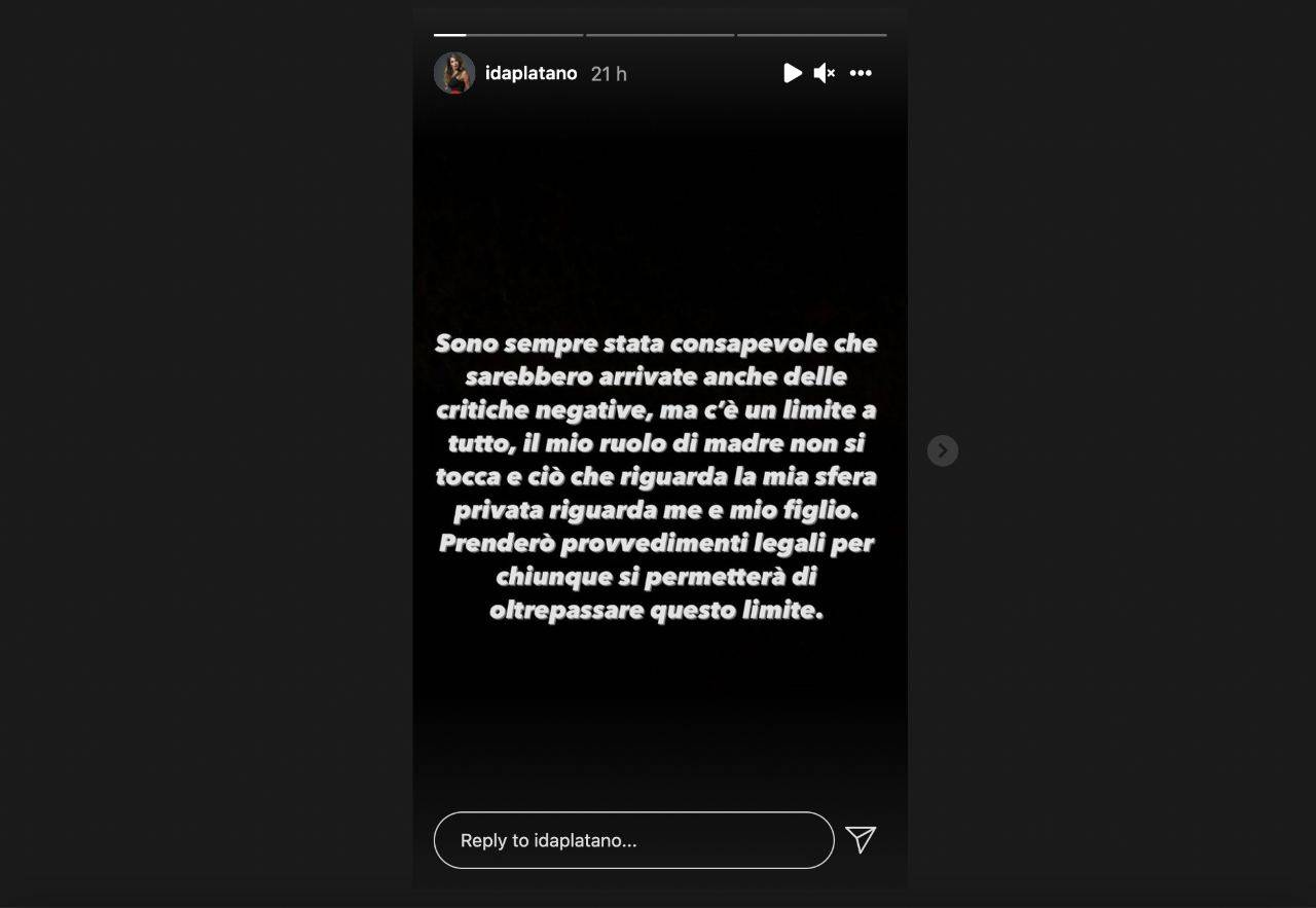 Il messaggio di Ida Platano dopo i numerosi insulti ricevuti (fonte: Instagram).